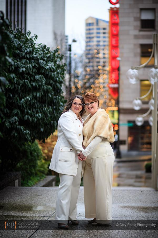 Rainy day same sex wedding in Seattle