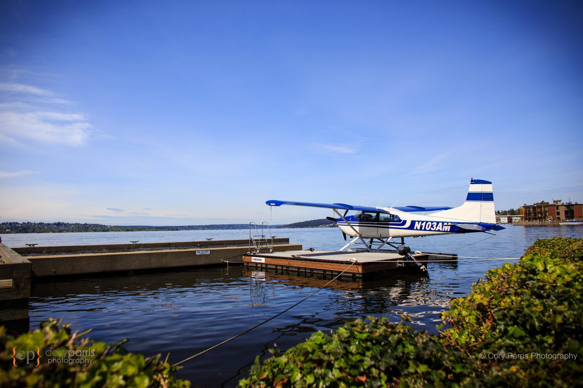 Charter plane out in front of the Woodmark Hotel in Kirkland