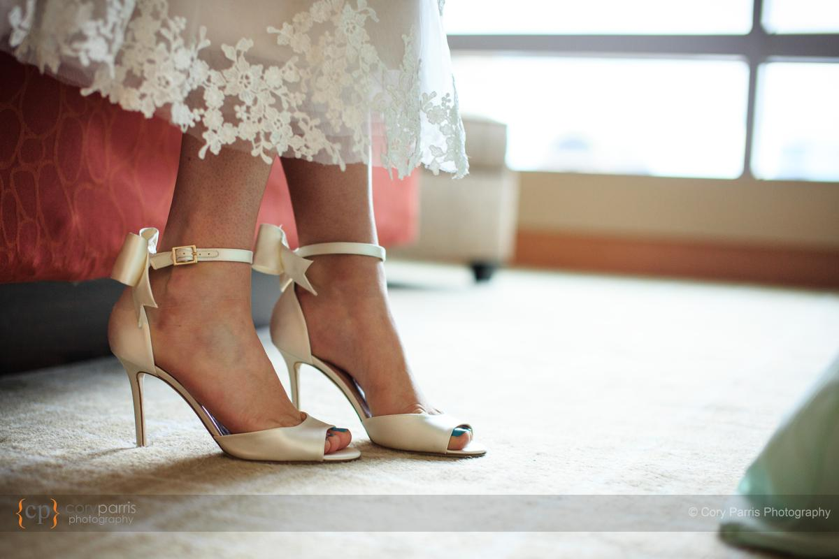 Wedding shoes prepared for action.
