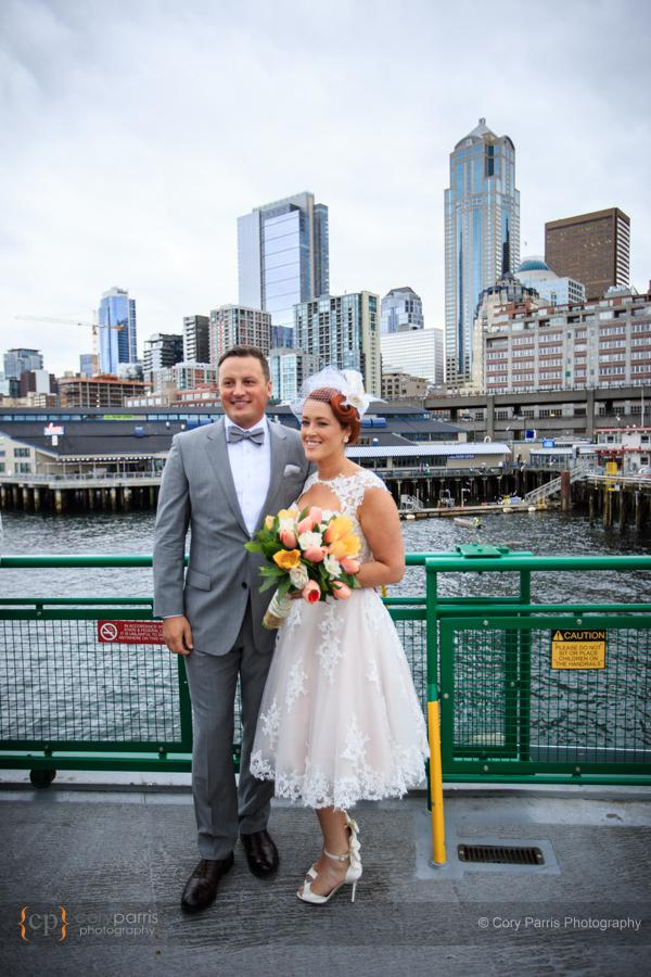 Posing for family in front of the city of Seattle.