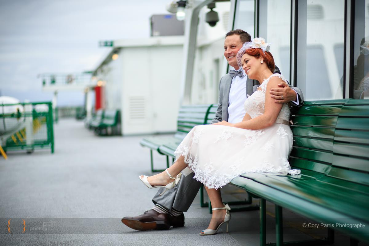 Wedding couple on a ferry.