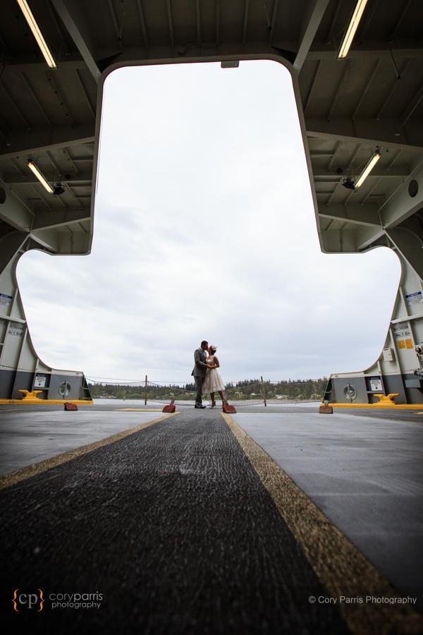 seattle ferry wedding portrait
