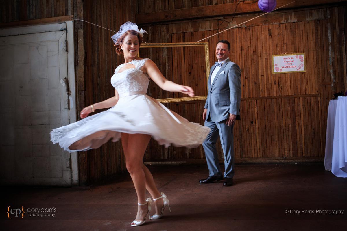Spinning wedding dress portrait.