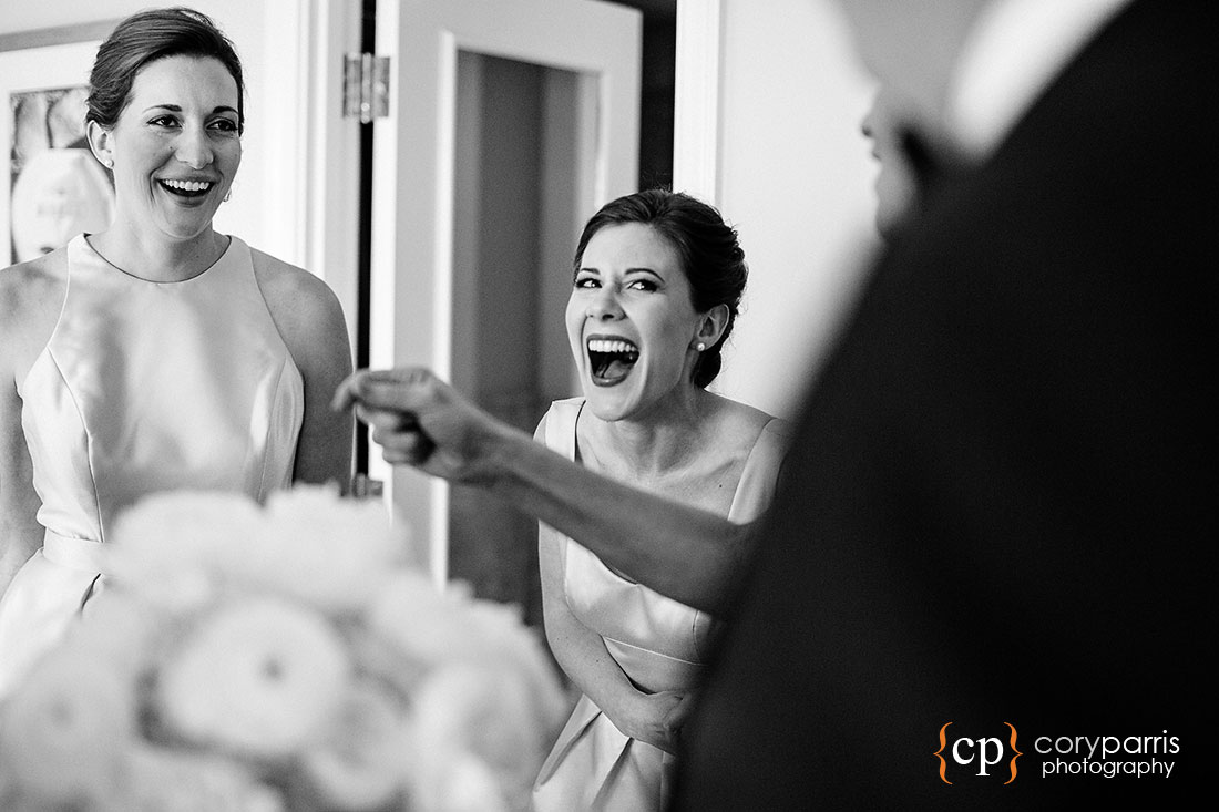 Bridesmaids laughing during the getting ready for Kirkland wedding
