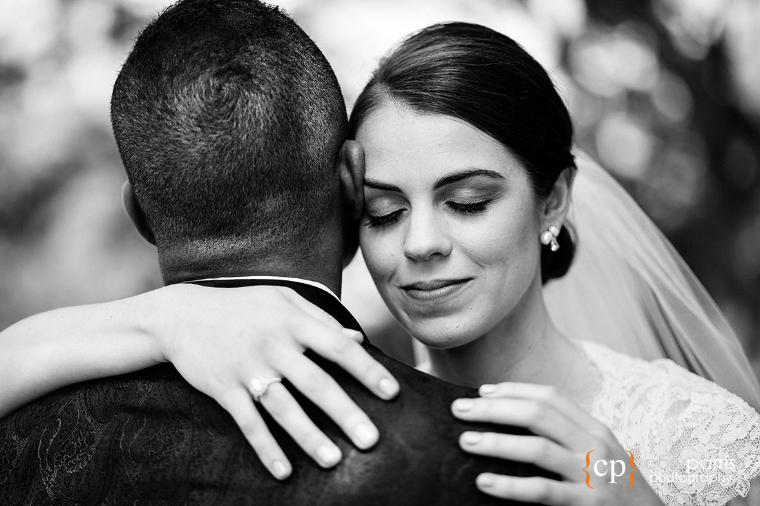Bride and groom hugging at Kirkland wedding