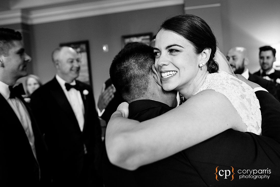 Hug for bride at the wedding