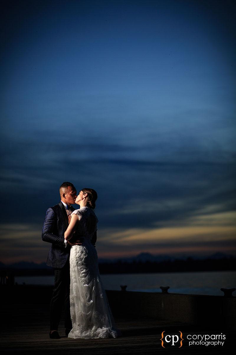 Sunset wedding portrait at the Woodmark Hotel