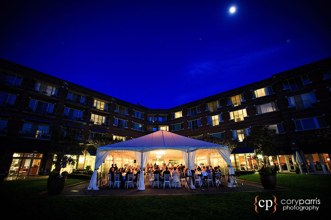 Woodmark Hotel at twilight