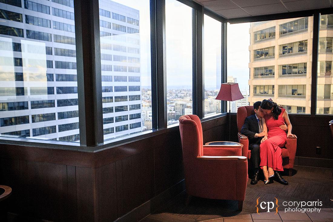 40th floor Starbucks wedding photography