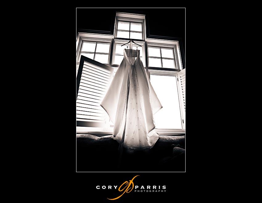 wedding dress in the window at newcastle golf club