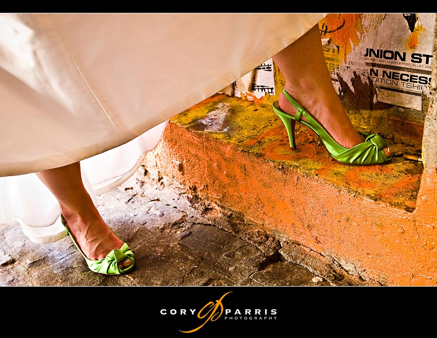 Green color wedding shoes at Pike Place Market