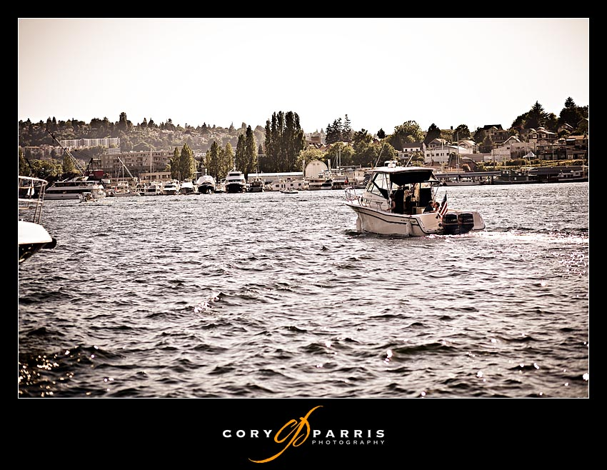 Boat getaway from a wedding at the Tyee Yacht Club
