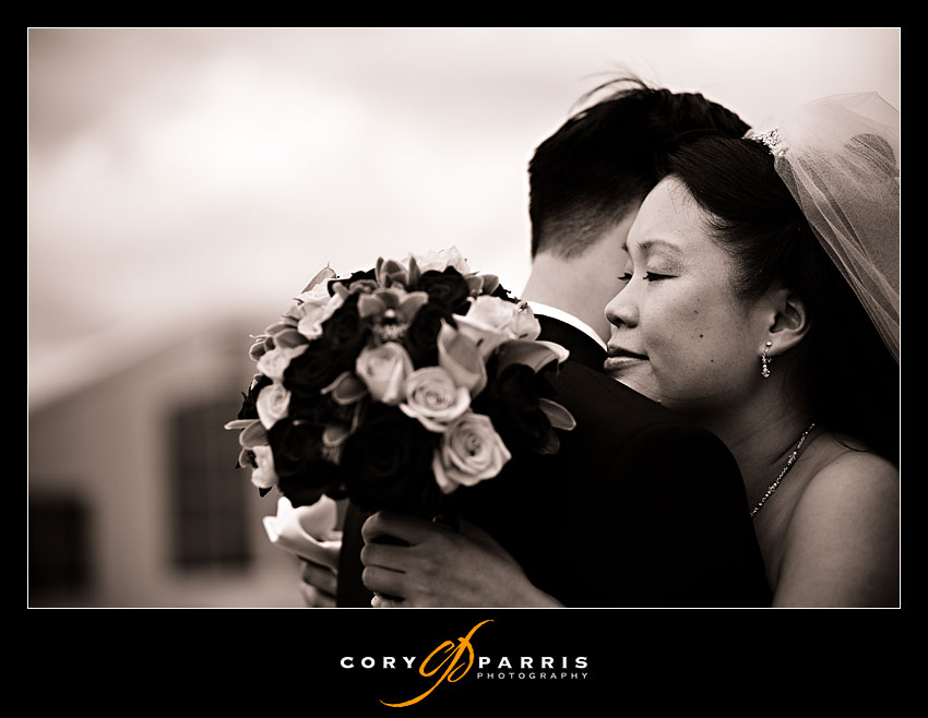 bride and groom's first sight at  Newcastle Golf Club by seattle wedding photographer Cory Parris