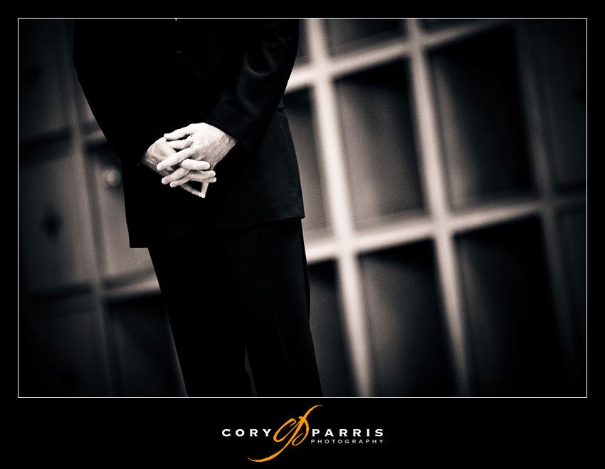 groom's nervous hands