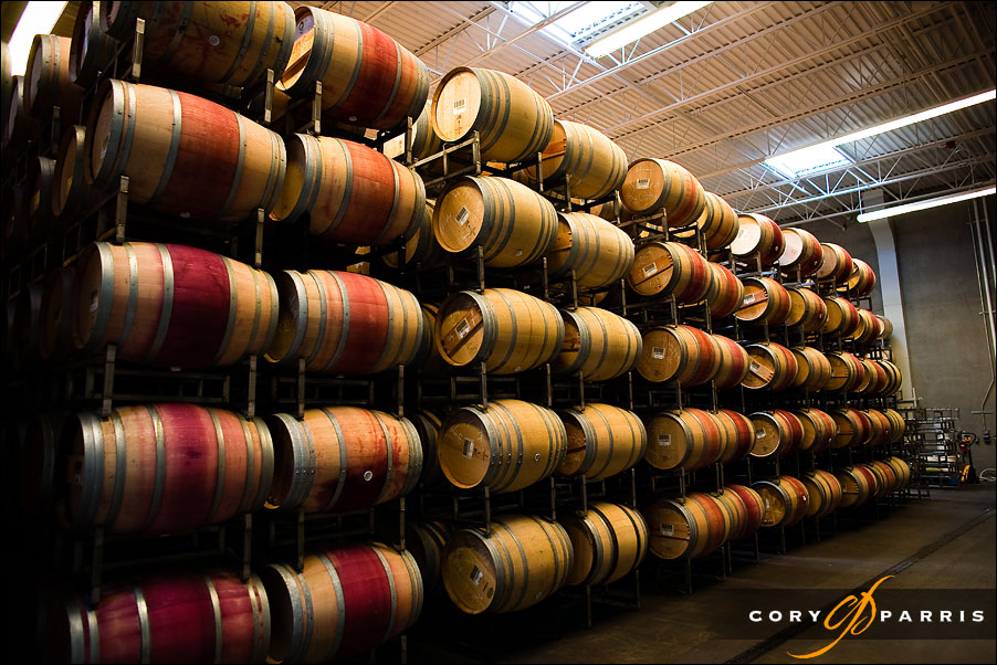 wine in barrels at novelty hill winery