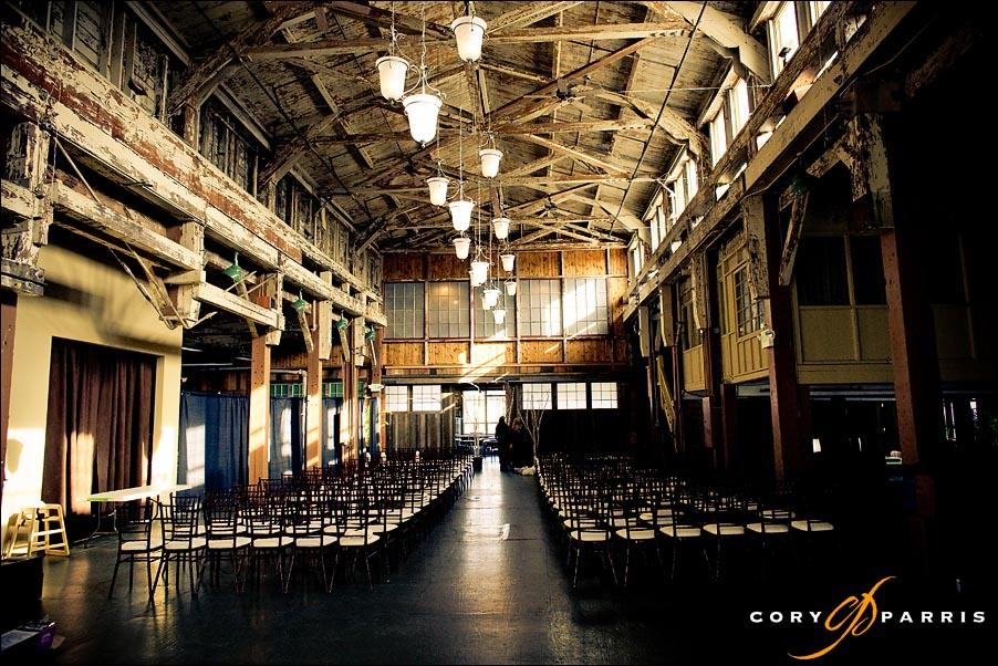 The interior of SODO Park prior to the wedding
