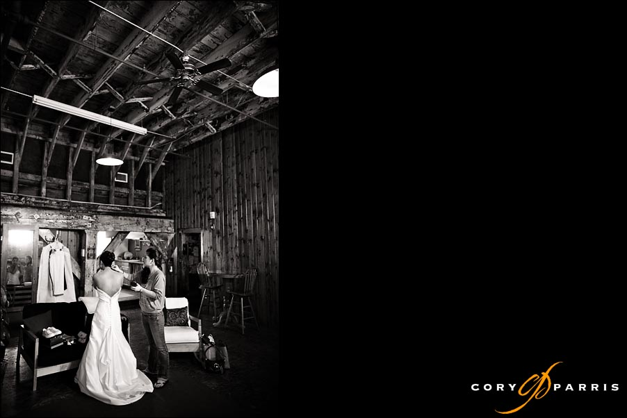 bride getting ready in the warehouse