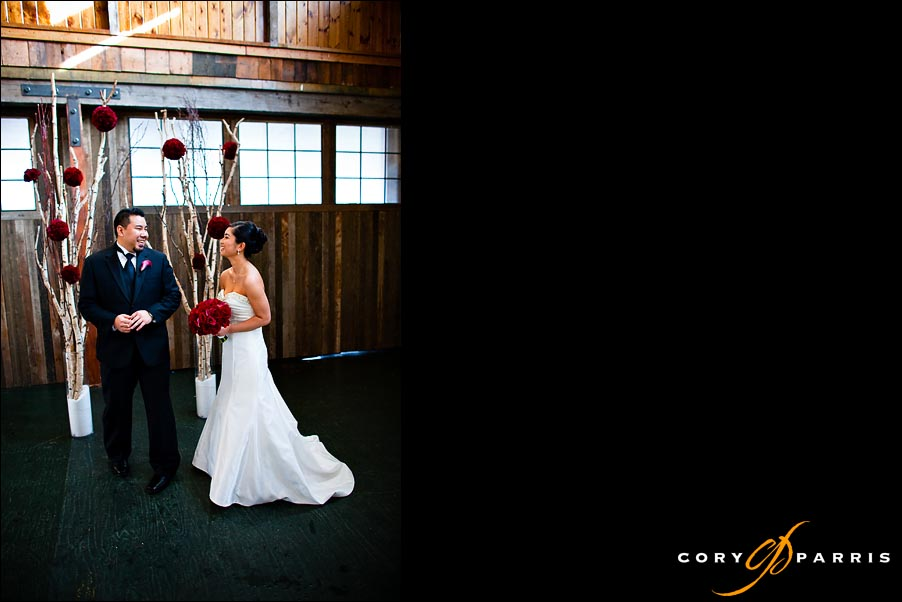 bride and groom seeing each other for the first time by seattle wedding photographer cory parris