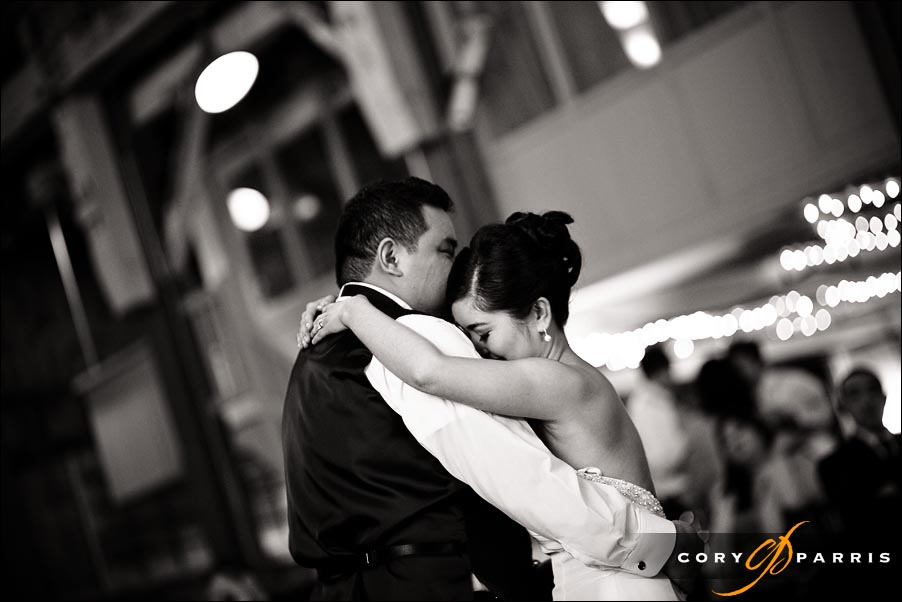 bride and groom during the first dance by seattle wedding photographer cory parris