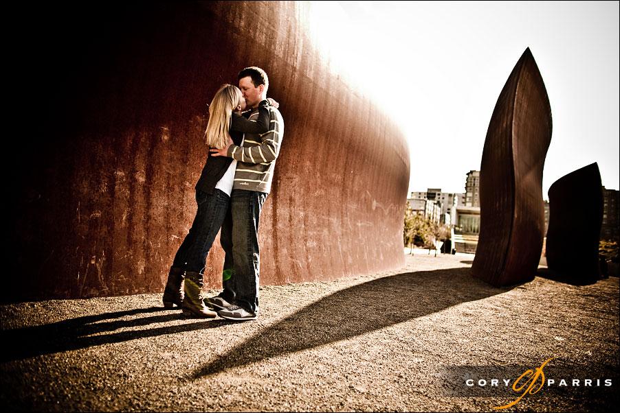 engagement portrait at the olympic sculpture park by seattle wedding photographer cory parris
