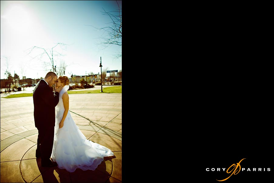 bride and groom together in downtown Renton at the Spirit of Washington Event Center