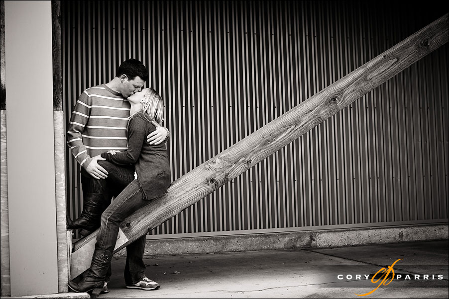 engagement portrait of a couple with interested shapes in black and white