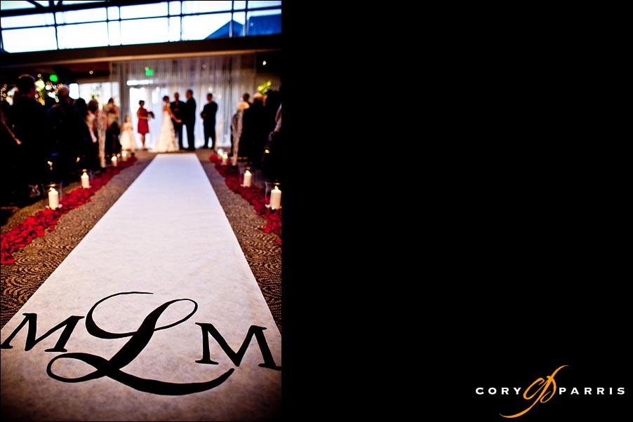 logo aisle runner during the wedding