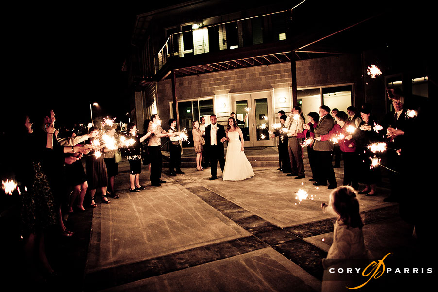 sparkler exit at the edmonds yacht club by cory parris, wedding photographer in seattle