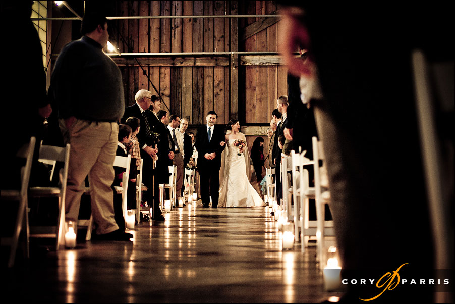 bride walking down the aisle at pickering barn in issaquah wedding