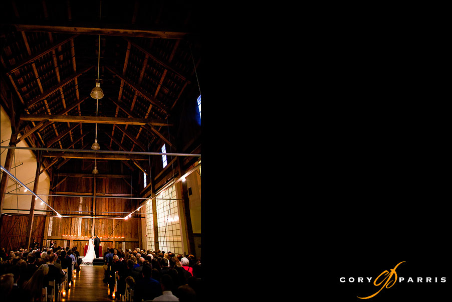 bride and groom during the wedding ceremony at pickering barn in issaquah