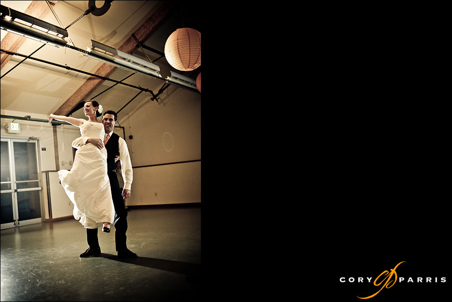 bride and groom first dance at pickering barn by seattle wedding photographer cory parris