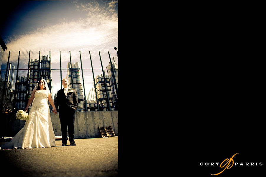 portrait of a bride and groom at Red Hook in woodinville