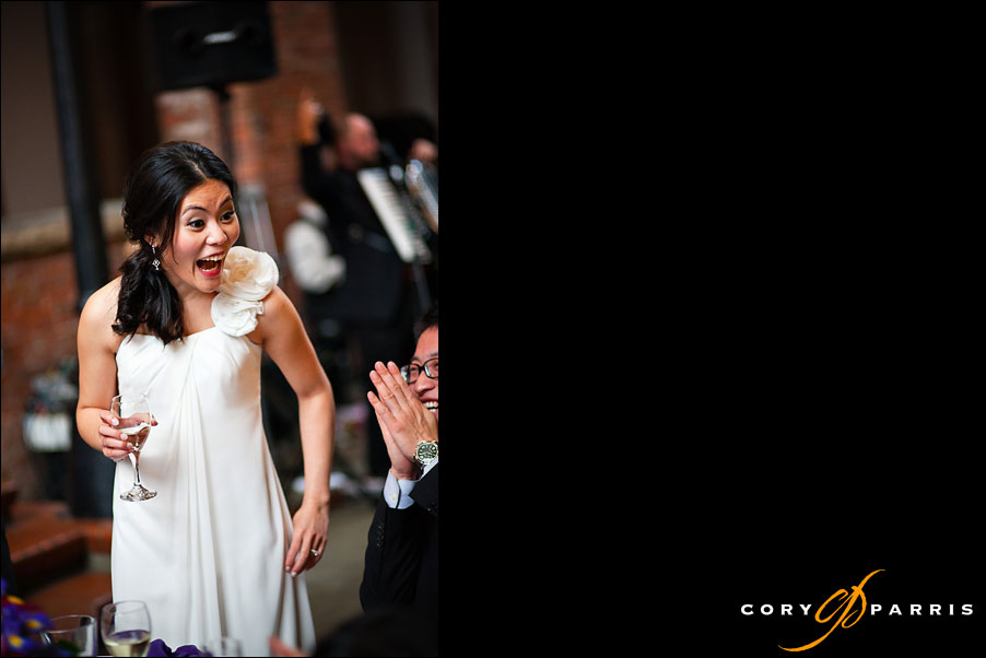 bride laughing at wedding reception at the court in the square wedding location in seattle