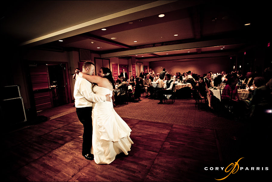 bride and groom first dance at willows lodge wedding