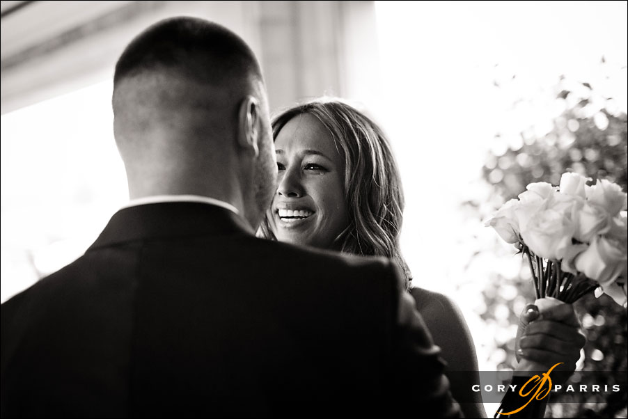bride crying as she sees the groom during the first glance by seattle wedding photojournalist cory parris