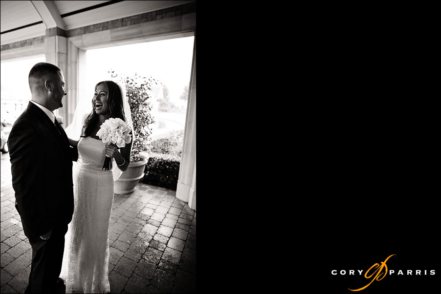 bride and groom seeing each other for the first time by wedding photographer in seattle cory parris