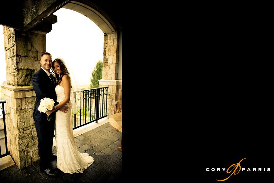 bride and groom portrait at the newcastle golf club wedding