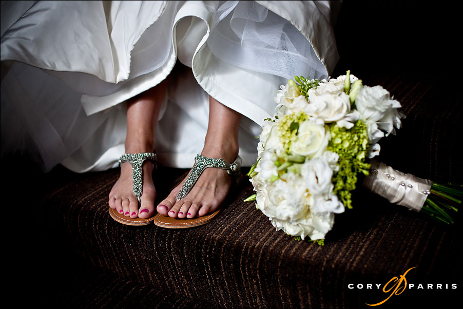 wedding shoes and flowers by wedding photographer seattle cory parris