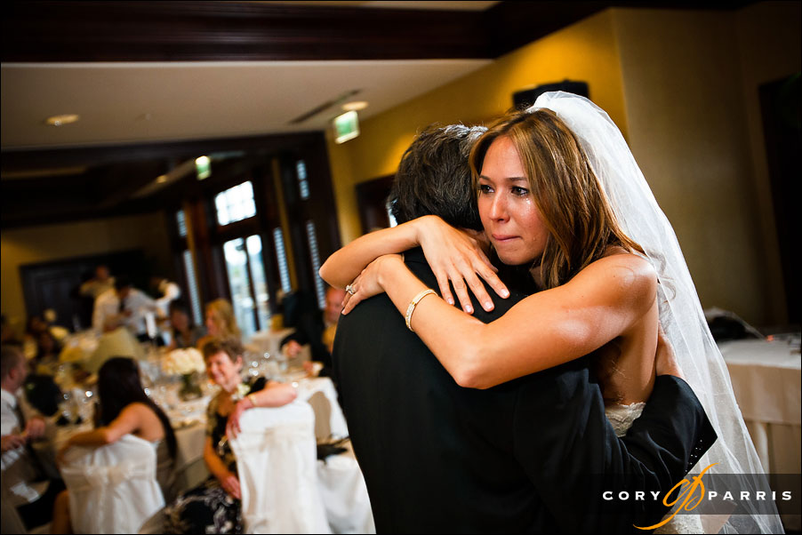 bride crying during father daughter dance by seattle wedding photographer cory parris