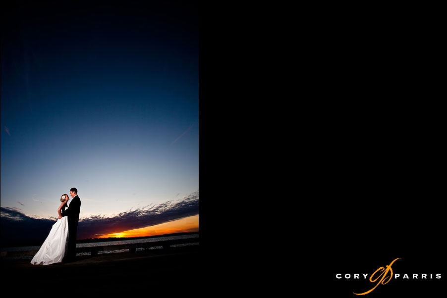 bride and groom at sunset with strobist flash by seattle wedding photographer cory parris