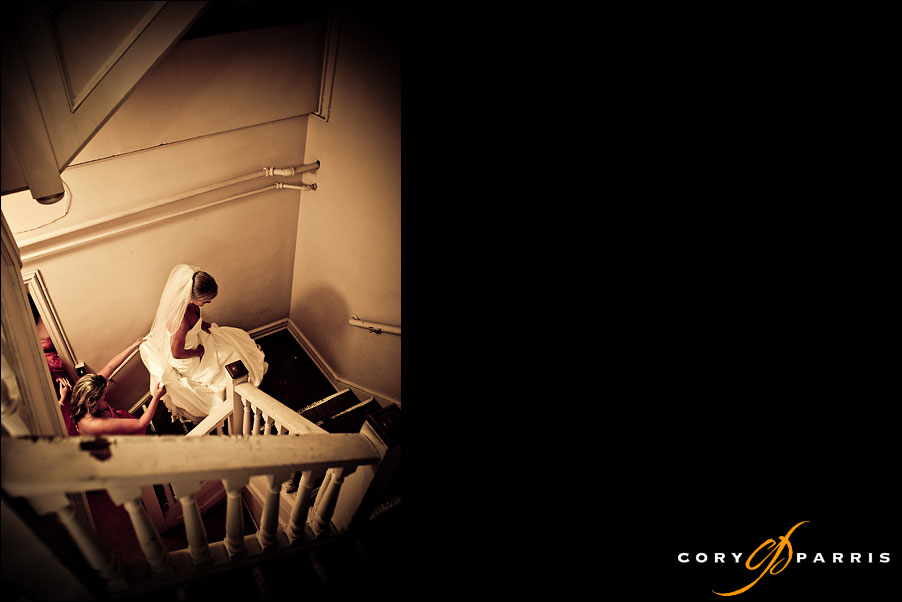 bride on the stairs at Mount baker presbyterian wedding by seattle wedding photojournalist cory parris