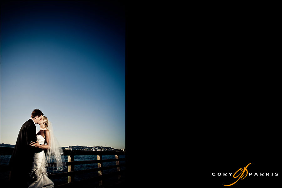 bride and groom portrait at Salty's on Alki by seattle wedding photographer cory parris