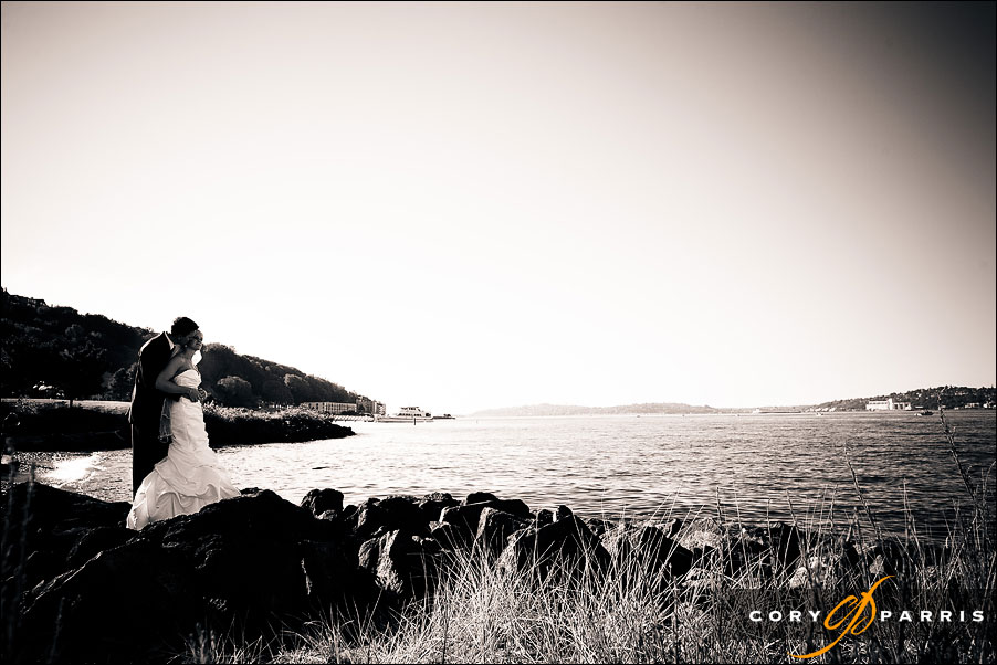dramatic black and white portrait by seattle wedding photographer cory parris