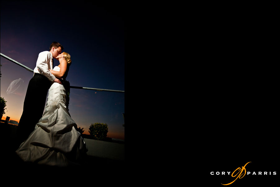 bride and groom portrait on the deck at saltys during their wedding reception