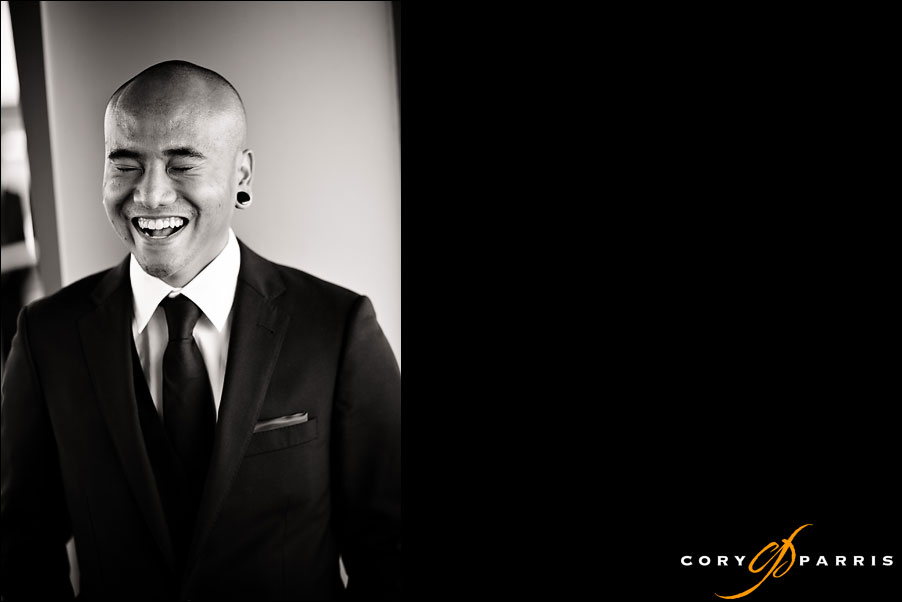 groom laughing by seattle wedding photographer cory parris