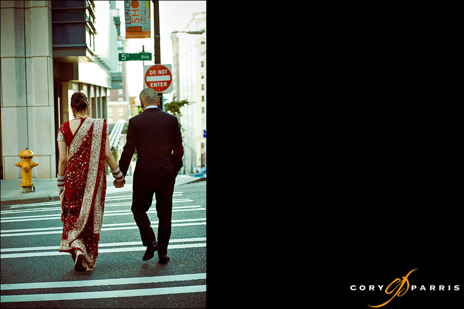 bride and groom walking in downtown Seattle