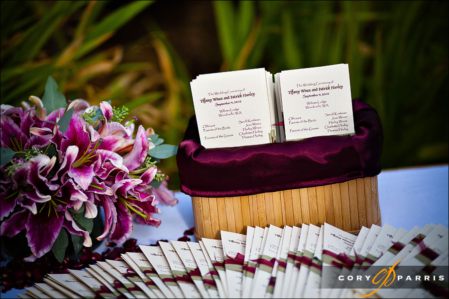 programs and flowers by seattle wedding photographer cory parris