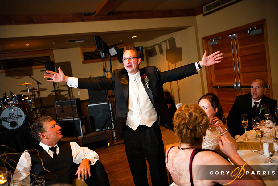 groom toasting the wedding by seattle wedding photographer cory parris