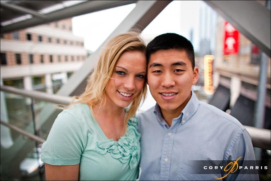 engagement portrait in downtown bellevue by photographer cory parris