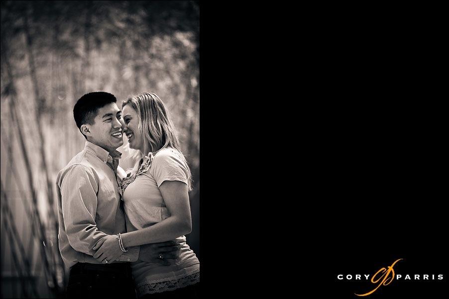 engagement portrait couple laughing by seattle wedding photographer cory parris
